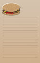 Cheeseburger note pad a beige colored lined notebook page with a colorful on top use for shopping list etc size is suitable to Royalty Free Stock Images