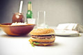 Cheeseburger a ready to be eaten Royalty Free Stock Photos