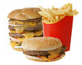 Cheeseburgers and French fries Stock Photography