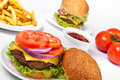 Cheeseburgers and fries Royalty Free Stock Photo
