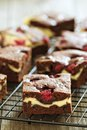Cheesecake brownies with raspberry on a cooling rack Stock Image