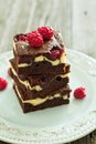 Cheesecake brownies with raspberry stacked on a plate Royalty Free Stock Images