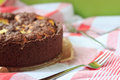 Cheesecake with chocolate shortcrust pastry and chocolate crumble arranged on a wooden board Stock Images