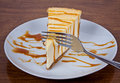 Cheesecake Drizzled With Caramel Stock Photos