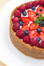 Cheesecake with fresh berries summer Royalty Free Stock Photography