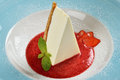 Cheesecake with fresh strawberry sauce Royalty Free Stock Photo
