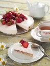 Cheesecake with fresh strawberry in vintage style selective focus Stock Images