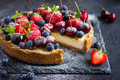 Cheesecake with fresh summer berries Royalty Free Stock Photo