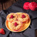 Cheesecake Muffins with raspberry Royalty Free Stock Photo