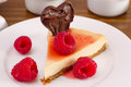 Cheesecake with raspberries, jam Royalty Free Stock Image