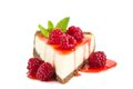 Cheesecake raspberry isolated on white Royalty Free Stock Photography