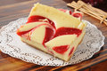 Cheesecake with strawberry swirls sliced cheese cake of Royalty Free Stock Photos