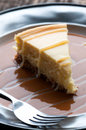 Cheesecake thick slice of with caramel and white chocolate drizzle Stock Image