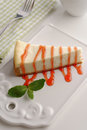 Cheesecake under strawberry sauce Royalty Free Stock Photo