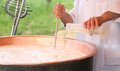 Cheesemaker pours milk rennet in copper pot for making cheese Royalty Free Stock Photo