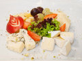 Cheeses with fruit selection of nuts and Stock Image