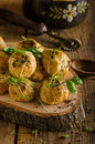 Cheesy bites with blue cheese and pepper baked in oven delicious snack for visit Stock Photo