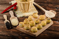 Cheesy bites with garlic and blue cheese sprinkled poppy sesame seeds Royalty Free Stock Photo
