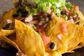 Cheesy nachos jerk chicken with vegatable Stock Photo
