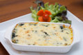 Cheesy spinach casserole delicious food Royalty Free Stock Photos