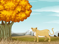 A cheetah near the big tree illustration of Royalty Free Stock Image