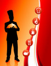 Chef on abstract background with icons Royalty Free Stock Images