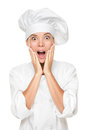 Chef or baker surprised excited and shocked Royalty Free Stock Photography