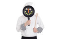 Chef behind pan isolated on white background funny image Royalty Free Stock Photography