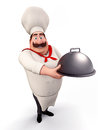 Chef with big dish in his hand Royalty Free Stock Images