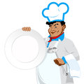 Chef and big plate Stock Images