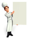 Chef with big white sign d rendered illustration of Stock Image