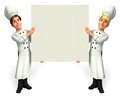 Chef with big white sign d rendered illustration of Royalty Free Stock Photography