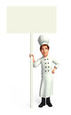 Chef with big white sign d rendered illustration of Royalty Free Stock Photo