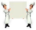 Chef with big white sign d rendered illustration of Stock Photography