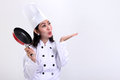 Chef blowing a kiss to copy-space on white Royalty Free Stock Photo