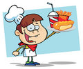 Chef Boy Carrying A Hot Dog French Fries And Drink Stock Image