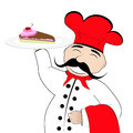 Chef with a cake on a plate Stock Images