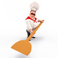 Chef carrying pizza spade Royalty Free Stock Images