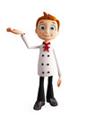 Chef character with presentation pose Royalty Free Stock Photo