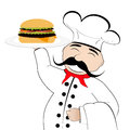 Chef with cheeseburger on a white background Stock Photos