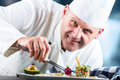 Chef. Chef cooking.Chef decorating dish. Chef preparing a meal. Chef in hotel or restaurant kitchen prepares decorating dish with Royalty Free Stock Photo