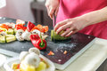 Chef is chopping vegetables Royalty Free Stock Photo
