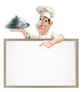 Chef cloche and menu a cartoon character holding a silver platter pointing at a sign Royalty Free Stock Photography