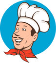 Chef cook baker smiling cartoon illustration of a with moustache wearing bandana on neck and facing front set inside circle done Stock Image