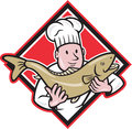 Chef cook handling salmon trout fish cartoon illustration of a holding up a facing front set inside diamond shape done in style Royalty Free Stock Images