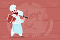Chef Cook Holding Cleaver Knife And Meat Smiling Cartoon Chief In White Restaurant Uniform Over Wooden Textured