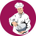 Chef cook holding a mixing bowl Stock Photo