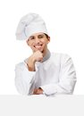 Chef cook props head with hand in uniform isolated on white Royalty Free Stock Photos