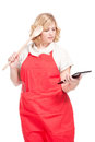 Chef cook using a tablet computer female Stock Photography