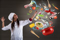 Chef cooking with harmony Royalty Free Stock Photo